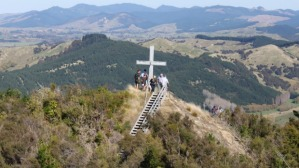 The Anzac Day cross above Tinui township, a 40-minute drive east of Masterton,